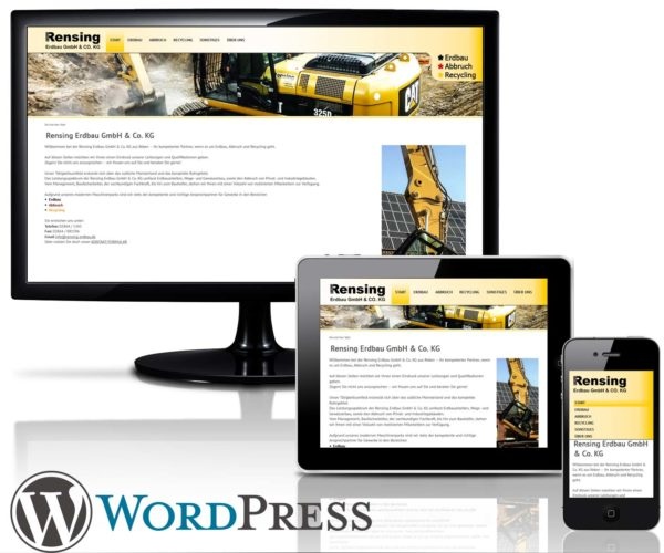WordPress Website Rensing Erdbau GmbH & Co kg in Reken
